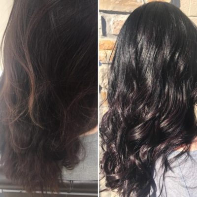 Hair Color Black with Violet Lowlights